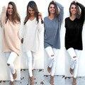 2016 новый зима осень женщины толстовки большой размер теплые вязаные длинные пуловеры женщины толстовки твердые основывая длинные рубашки