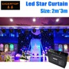 Fireproof 2M 3M Light Curtain Led Star Curtain 90V 240V RGBW Color LED Star Cloth Wedding