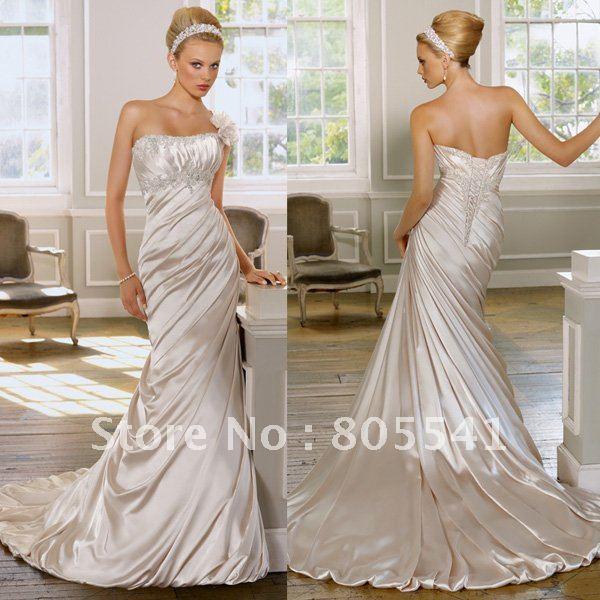 Ruching Wedding Gowns: Free Shipping Gorgeous Ruffle Mermaid Sleeveless Satin