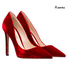 Aiyoway Women Shoes Pointed Toe High Heels Pumps Autumn Spring Party Wedding Shoes Slip-On Velvet women heels Black Red Blue