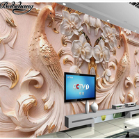 Beibehang Custom Wallpaper 3d Large Peacock Relief Background Wall Butterfly Floral Background Murder Wallpaper For Walls