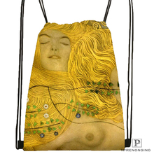 Custom Case Gustav Klimt#10  Drawstring Backpack Bag Cute Daypack Kids Satchel (Black Back) 31x40cm#180531-02-39