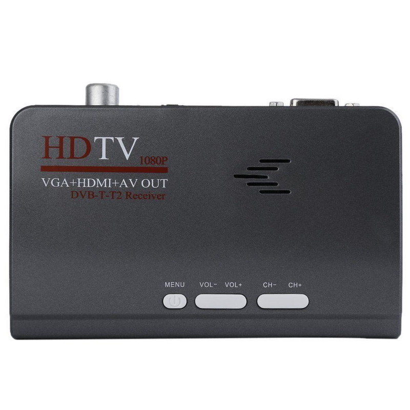 1pc VGA DVB-T HD 1080P Digital TV Box Receivers 5W EU Plug Adapter AV CVBS Receiver Remote Control Mayitr compact digital tv box dvb t receiver with av vga pal ntsc