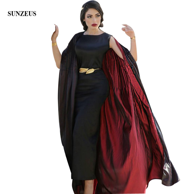 Black and Red Arabic Formal Dresses Sheath Tea Length Half Sleeve Black Evening Gowns With Jacket Moroccan Evening Dresses