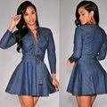 2016 Мода Женщины джинсовый пояс С Длинным рукавом Сексуальное Платье Бесплатная Доставка