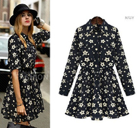 European Style Long Sleeve Black Dress Vestido Floral Verao Autumn Vintage Print Dress Vestido Estampado Party