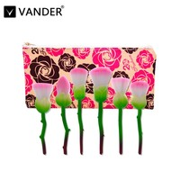 Vanderプログリーン6ピースローズ花型化粧ブラシセットパウ