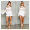Hollow out white lace 2016 women top High neck geometry cool 2016 autumn Flare sleeve tassel fringe blusa