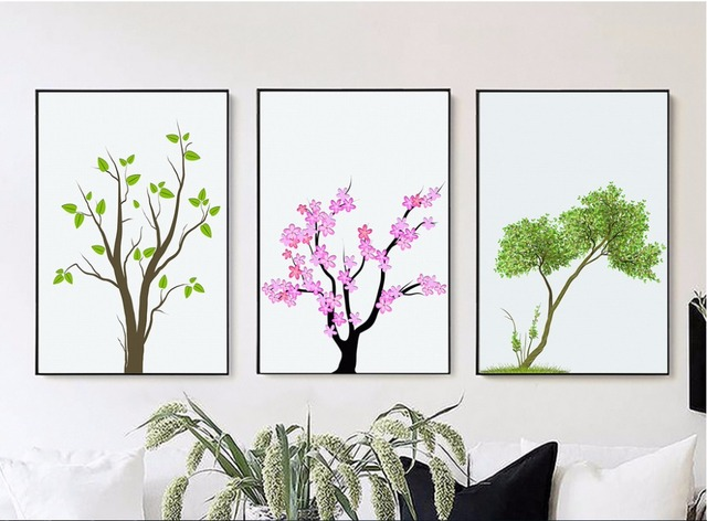 US $10 38 46% OFF| Nordic style 3 pieces branches leaves living room  decorative paintings spray paintings painted on canvas No Framed -in  Painting &