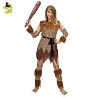 Halloween Cosplay Costume Children Savage Caveman Costumes Female Leopard Flintstone African Tribal Hunter Indian Clothing Girls