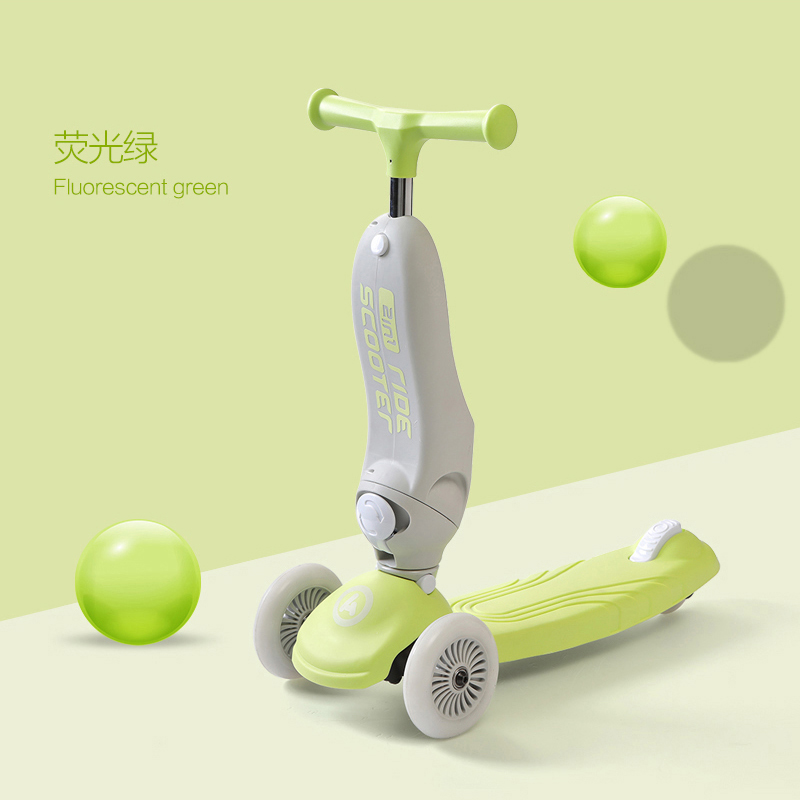 Infant Shining Children Scooter Multifuctional Balance Bike Adjustable  Wheel Baby Walker  Y Tricycle Bike