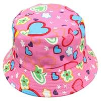LCLL-Love Heart pattern Cute Sweet Kid Child Boys Girls Toddler Summer Bucket Sun Hat Fisherman Cap Pink