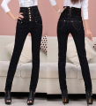 Women's double-breasted slim denim trousers Large size high waist skinny jeans pencil pants for women