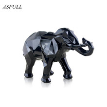 ФОТО  modern abstract black elephant statue resin ornaments home decoration accessories gift geometric resin gold elephant sculpture