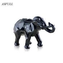 Enfeites de resina para elefante, ornamentos de decoração moderna e abstrata, presente, acessórios de decoração para casa, resina geométrica, escultura de elefante dourado