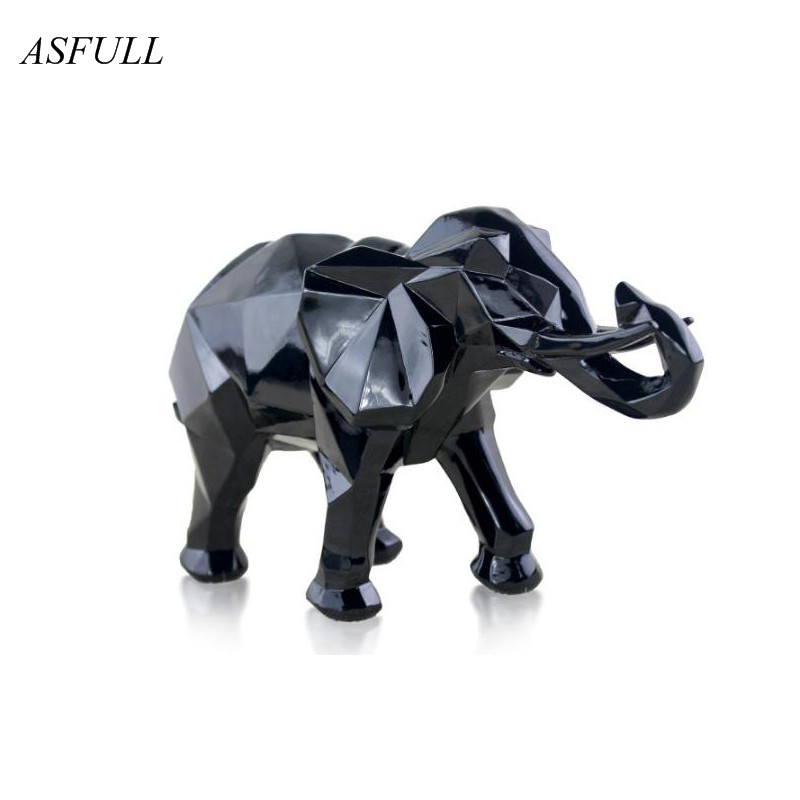 Modern Abstract Black Elephant Statue Resin Ornaments Home Decoration accessories Gift Geometric Resin Gold Elephant Sculpture