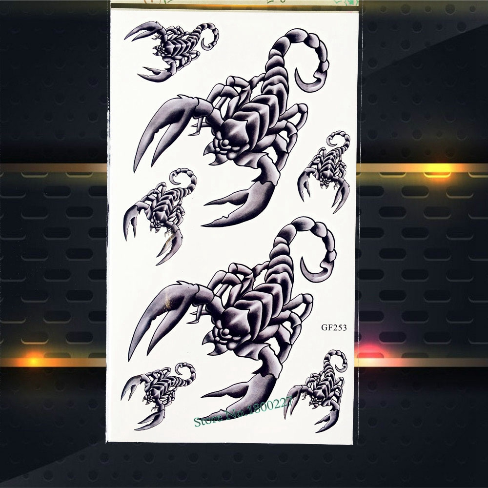 Cool 3D Metallic Scorpions Style Waterproof Temporary Tattoo Fake Flash Body ARt Arm Children Tattoo Sticker 17x10CM Tattoo Kids