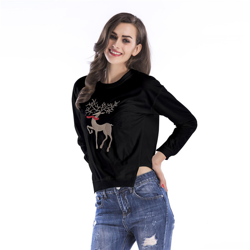 2018 coton tissé Promotion limitée dans le temps Moletom sweat femmes Kpop Panda irrégulière jupe manches T cou pull