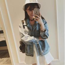Spring 2016 new Korean version of washing to do the old retro light-colored denim jacket