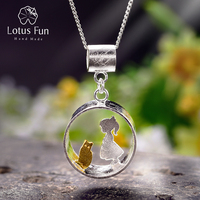 Lotus Fun Real 925 Sterling Silver Creative Handmade Fine Jewelry Meeting Love With Cat Pendant without Necklace for Women