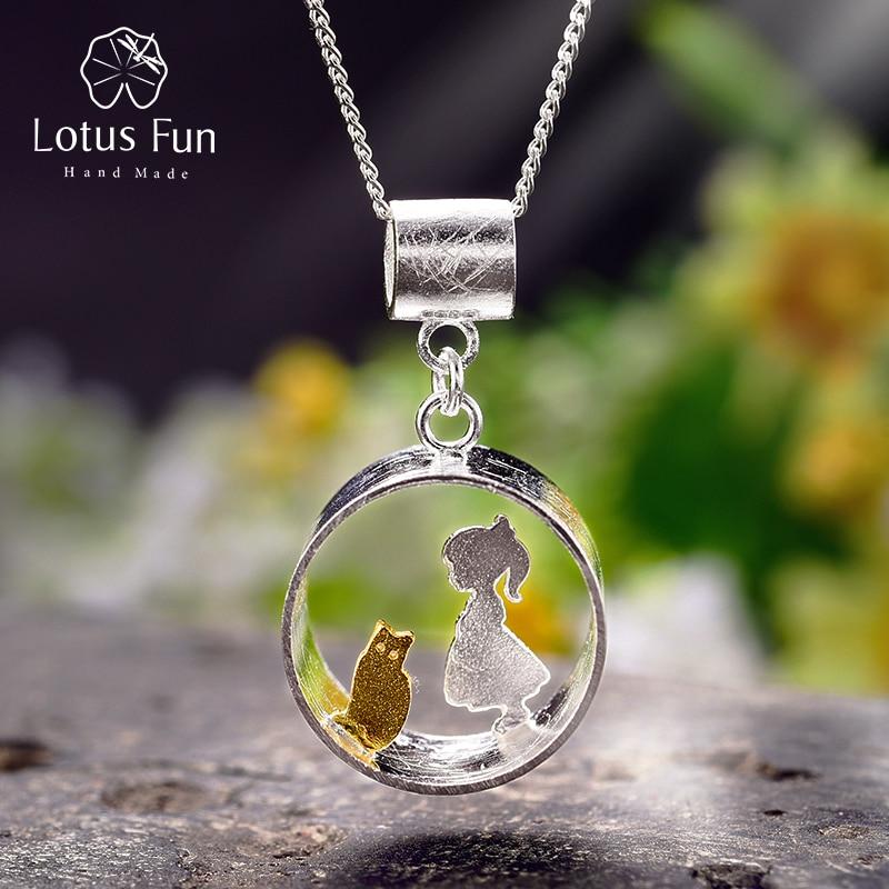 Lotus Spaß Echt 925 Sterling Silber Kreative Handgemachte Feine Schmuck Treffen Liebe Mit Katze Anhänger ohne Halskette für Frauen Geschenk