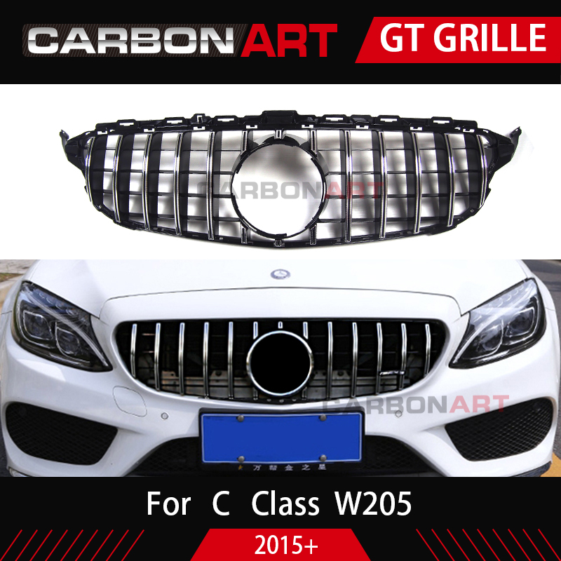 Carbonart C Class W205 GT Front Bumper Mesh Grill Grille Fit for mercedes W205 C200 C300 Sports No/with Camera hole grille