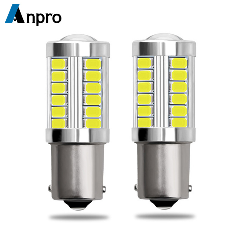 Anpro 2pcs 1156 7506 BA15S P21W 5630 5730 LED Car Tail Bulb Brake Lights 12V Auto