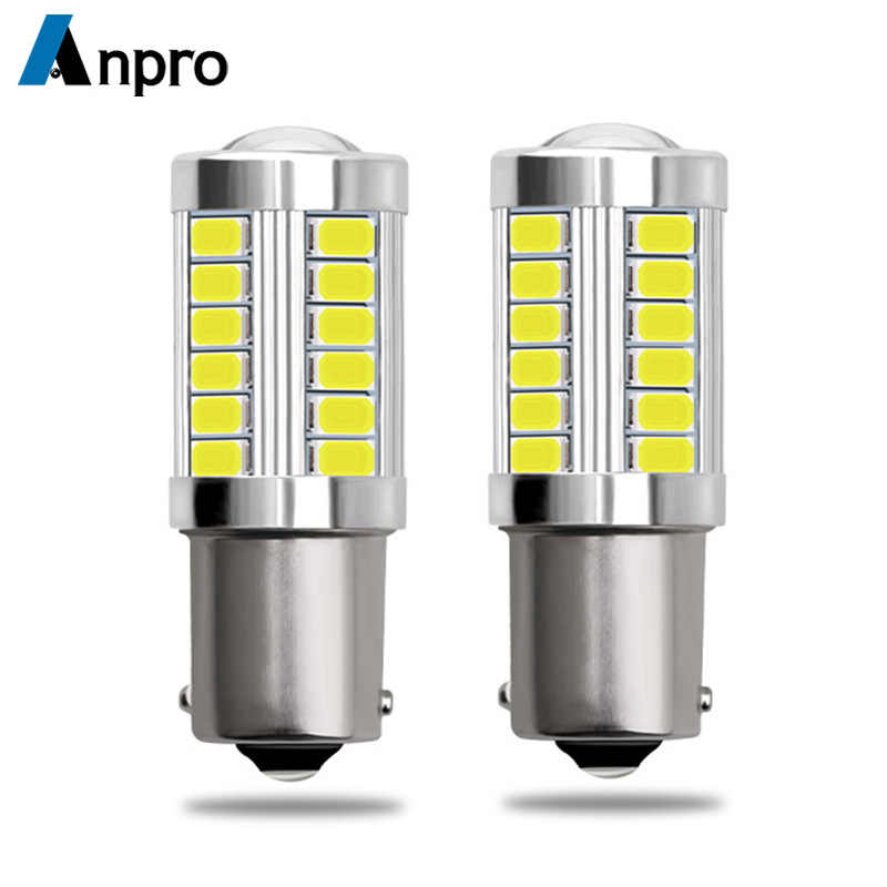 Anpro 2pcs 1156 7506 BA15S P21W 5630 5730 LED Car Tail Bulb Brake Lights 12V Auto Reverse Lamp Daytime Running Signal Light Z3