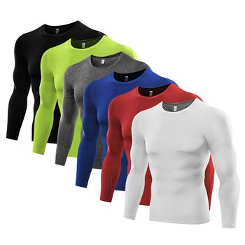 1PC Mens Compression Under Base Layer Top Long Sleeve Tights Sports Quick Dry Rashgard Running T-shirt Gym T Shirt Fitness Shirt Running T-Shirts