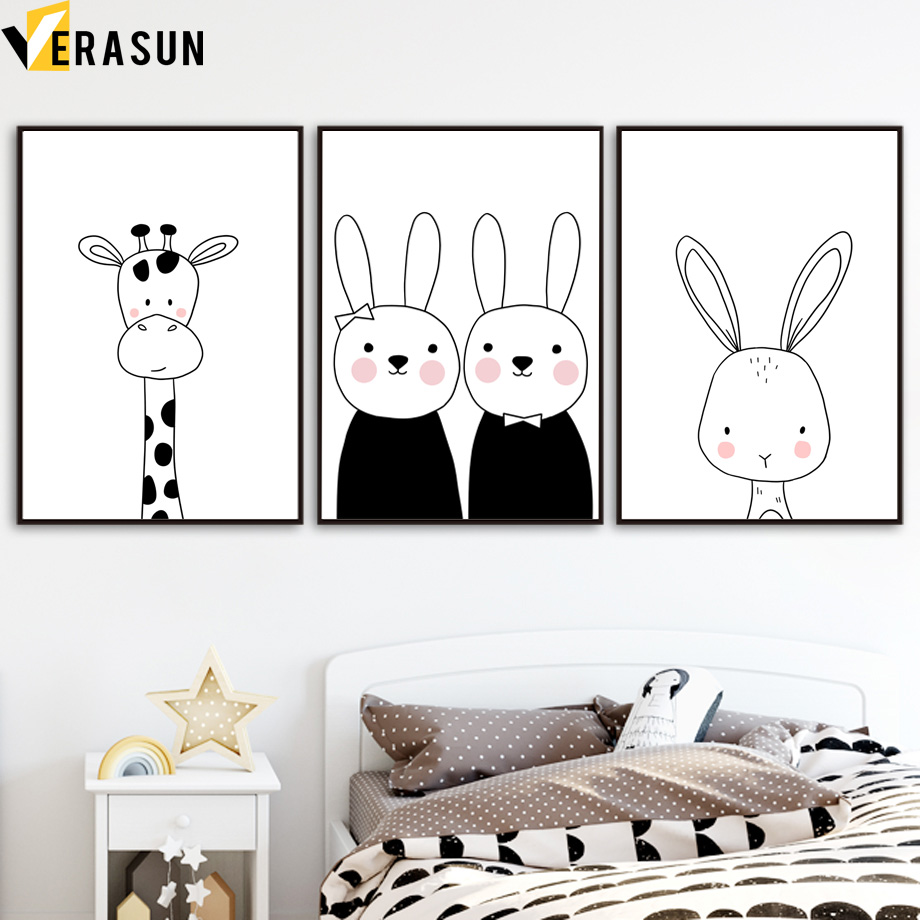 Image 3 - Black White Giraffe Rabbit Bear Fox Nursery Wall Art Canvas Painting Nordic Posters And Prints Wall Pictures For Kids Room Decor-in Painting & Calligraphy from Home & Garden