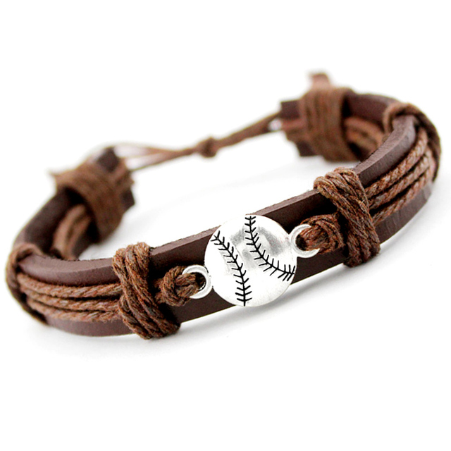 Baseball Softball Soccer Football Volleyball Lacrosse Field Ice Hockey Player Gymnastics Sports Charm Leather Bracelets Jewelry