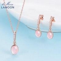 LAMOON Pink Rose Quartz Signora Dichiarazione Parure di Gioielli Argento 925 18 K Oro Rosa Placcato Orecchino di Goccia Pendente Catena V021-2