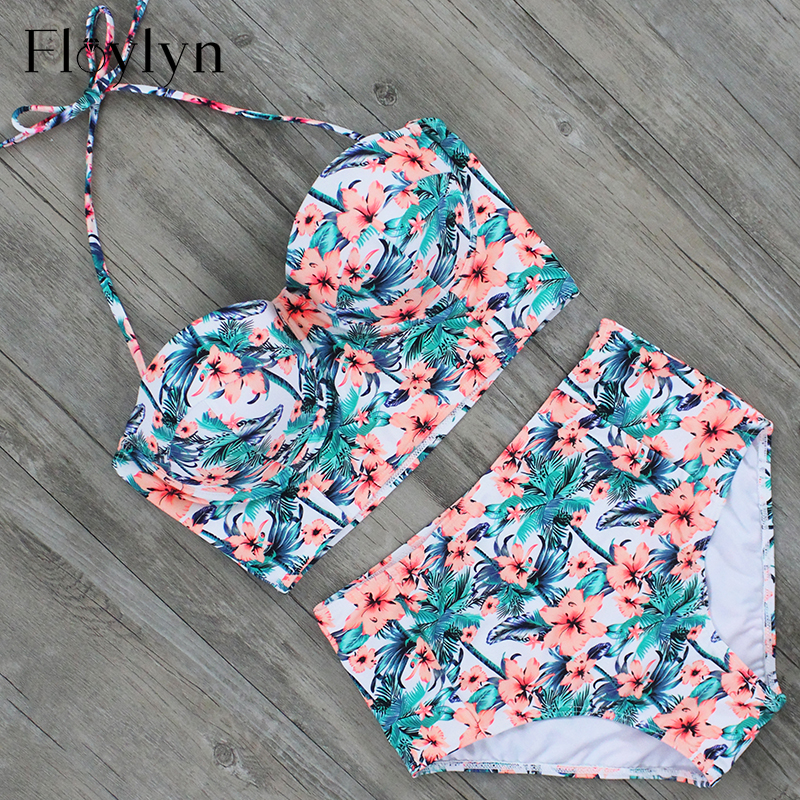 Floylyn Sexy Floral Printed Summer Beach Bathing Suit Push Up Swimsuit Women Swimwear Bikini Set High Waist Beachwear summer sexy swimsuit vintage high waist bikini retro push up swimwear women plus size bathing suit printed floral bikinis set