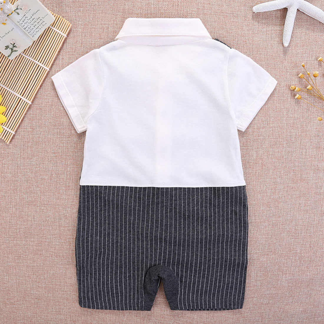 קיד Onesies ילד תינוק בגדי ילד 0-1 T יילוד פס Romper פורמליות שרוול קצר פעוט קיץ אדון חדש אופנה סרבל