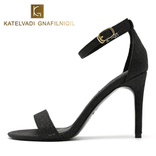цена на 9CM High Heels Gladiator Sandals Buckle Strap Women Black Sandals Summer Solid Fashion Thin Heels Shoes Woman Big Size K-280