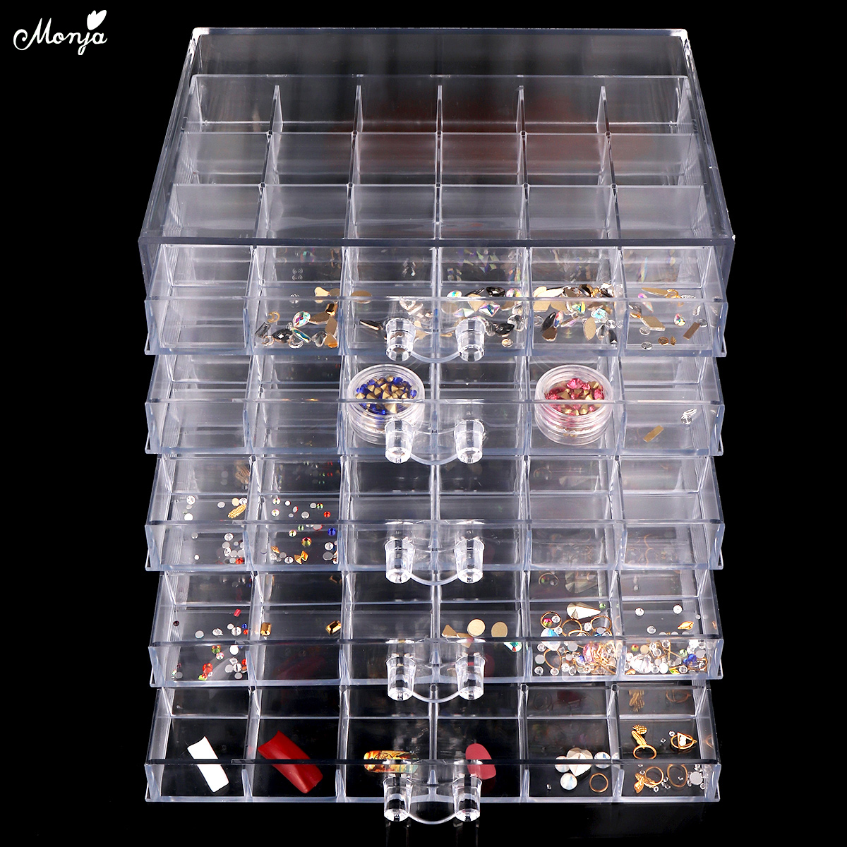 Monja 120 Grids Transparent Nail Art Decoration Storage Box Rhinestones Beads Accessories Display Container Case Manicure Tool