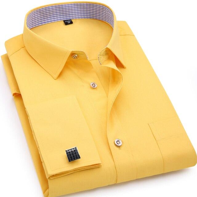 Mens French Cufflinks Long sleeves Shirts Black White Blue Yellow ...