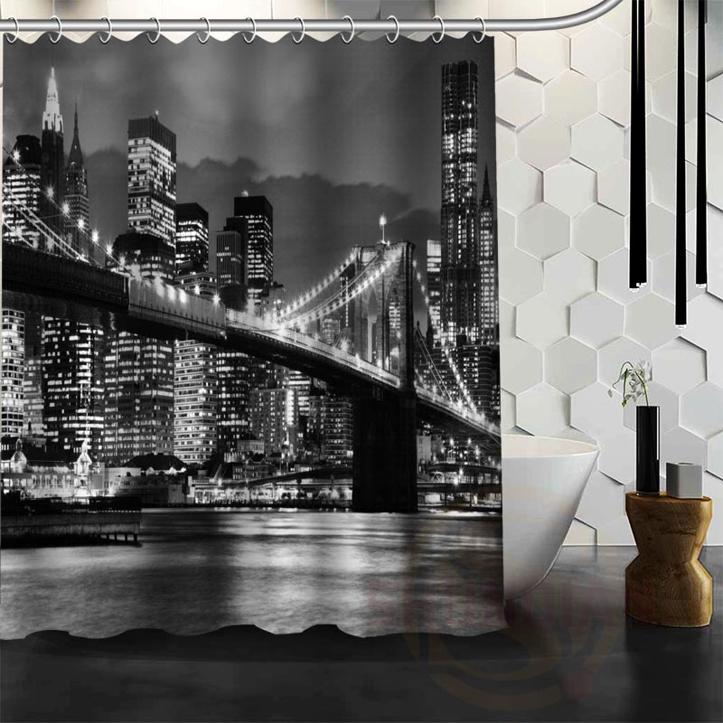 Best Nice Custom New York Night Shower Curtain Bath Curtain Waterproof Fabric For Bathroom MORE SIZE W#@26