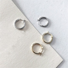 Fengxiaoling 2019 New Golden Silver Hoop Earrings For Women Real Sterling Silver 925 Minimalist Earings Fancy Silver Earings