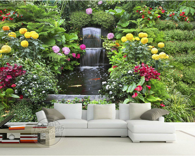 Flowers Fountain Photo Wallpaper Personalized Custom Wall Murals 3D Garden Wallpaper  Room Decor Bedroom Wedding Interior Design In Wallpapers From Home ...