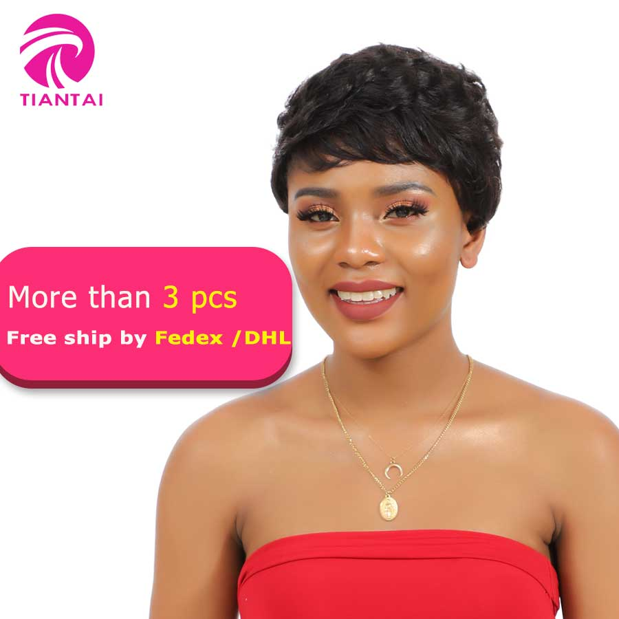 Tiantai Short Human Hair Wigs For Women Natural Wave Natural Color Remy 100% Human Hair Short Pixie Cut Wigs Short Bob Wigs