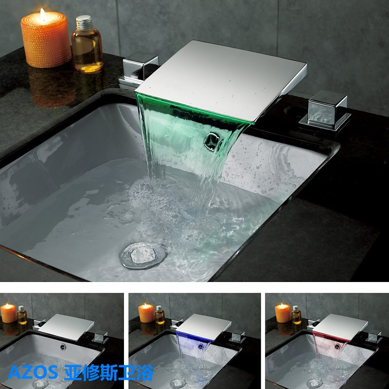 Classic 3 Color Led Chrome Waterfall 3 Holes Sink Faucets Hot And Cold Water Mixer Tap Bathroom Basin Faucet Mpsk018