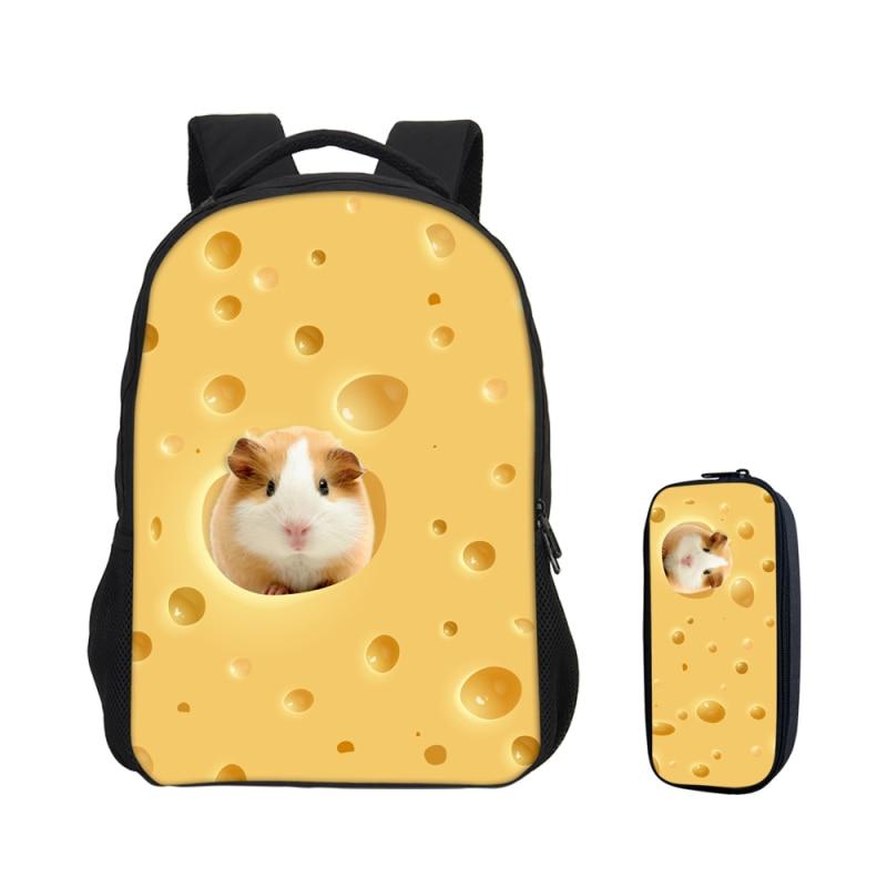 VEEVANV 2Pcs /Set Hamsters Cat Cheeses Print Cute Kawai Backpacks For Girls Boys Pencil Case Mochilas Kids School Bag 2018 New all over cat print pajama set