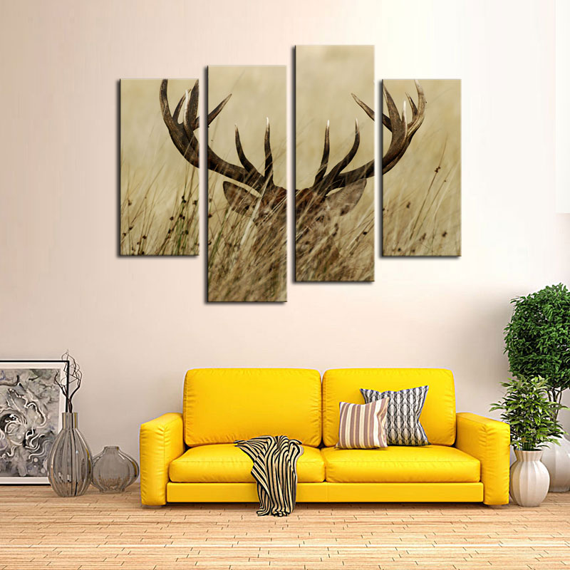 4 Pieces Canvas Painting Wall Art Deer Stag With Long Antler In The ...