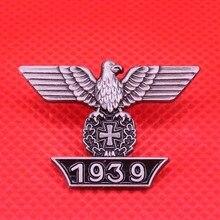 Broche de Cruz con esmalte de águila alemán 1939, placa de metal Negra y Plata vintage para hombres, accesorios de la camisa, joyería, regalo patriótico