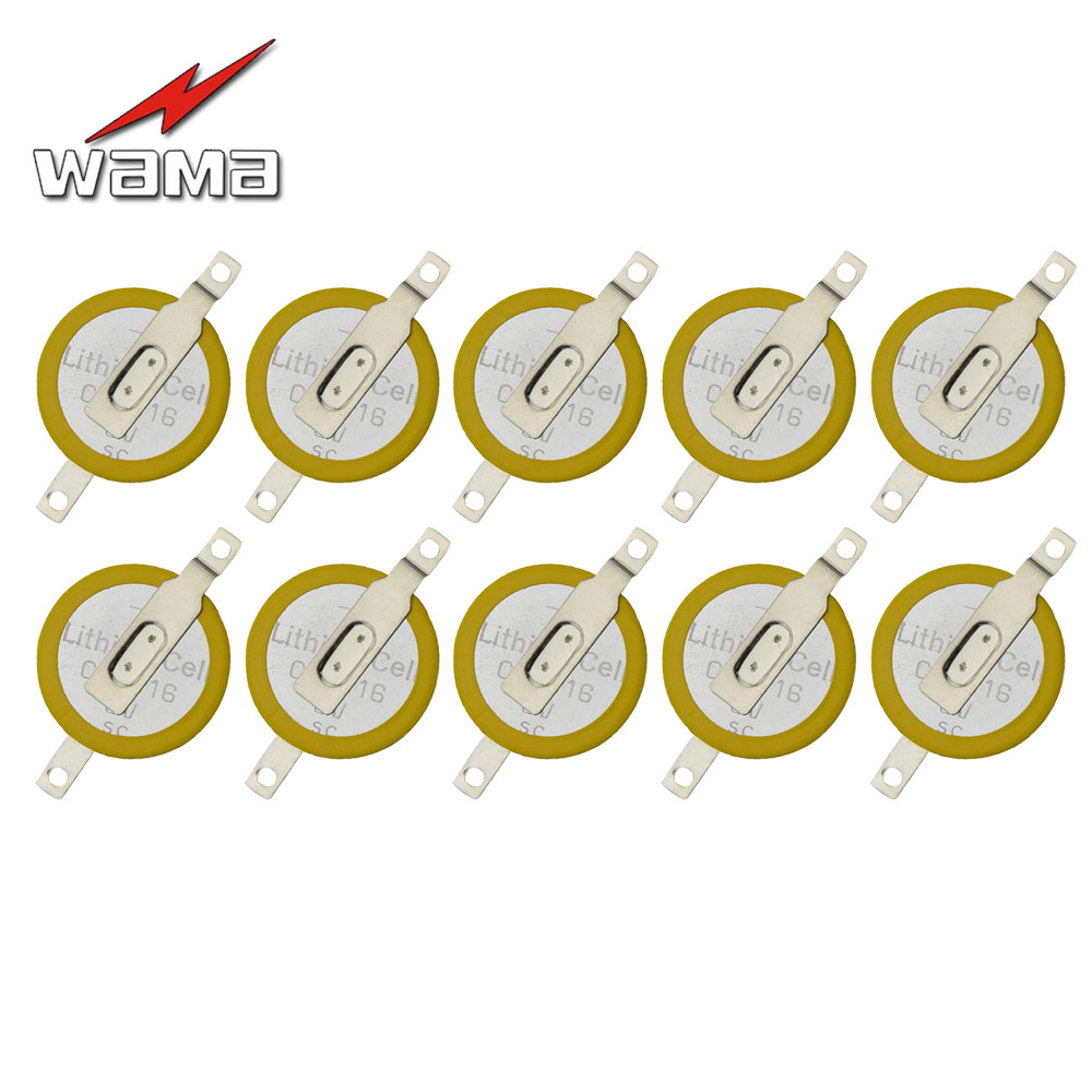 10pcs/lot Wama CR1616 3V 50mAh Welding Batteries Tabs 2 Pins Bluetooth Watch Accessories Button Cell Battery