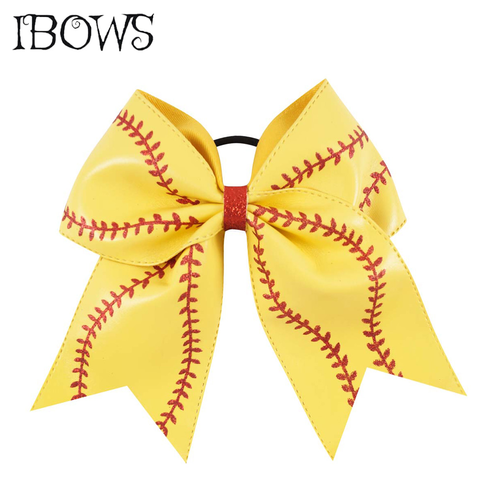 7'' Glitter Embroidery Leather Cheer Bow With Elastic Hair Band For School Girl Kid Softball Headwear Hair Accessories