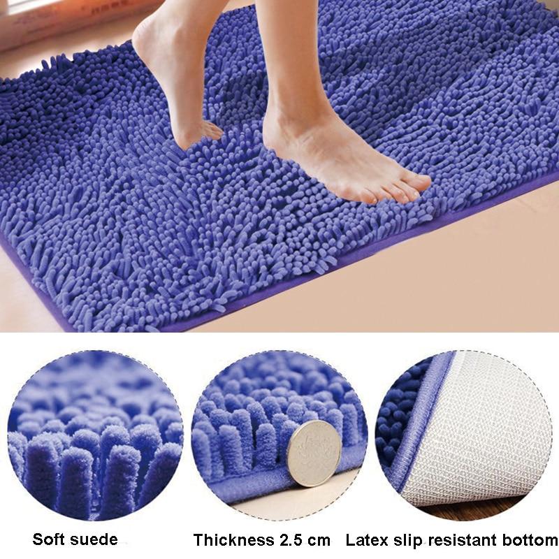 Fashion Floor Bath Mat Water Absorption Shaggy Kitchen Rug Door Way Feet Mat Anti-slip Strip Door Floor Mat Kitchen Carpet