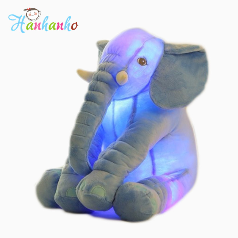 New High Quality Flashing Elephant Plush Toy With Long Nose Luminous Pillows PP Cotton Stuffed Baby Cushions Soft Toys 55cm soft u shape cushion journey from watermelon kiwifruit orange fruit cushions tourism neck pillow autotravel pillows new hot