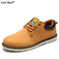 Hot Sale Casual Shoes Men Spring Autumn Waterproof Solid Lace up Man Fashion Flat With Pu Leather Shoe